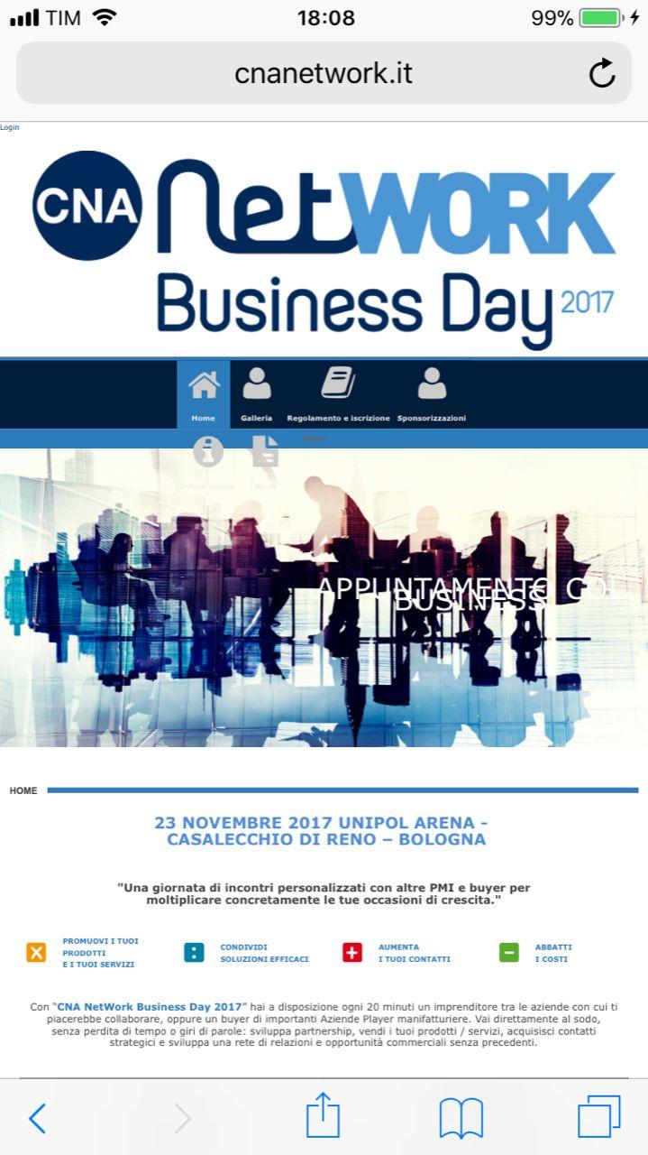 02/11/2017: PRESENTI AL BUSINESS NETWORK CNA del 23/11/2017 UNIPOL ARENA CASALECCHIO
